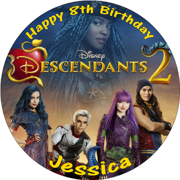 DESCENDANTS 2 PERSONALISED EDIBLE ROUND BIRTHDAY CAKE TOPPER